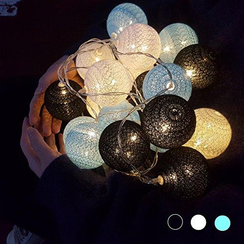 (Morbuy LED Lichterkette mit Kugeln, 6CM Baumwollkugeln Mit 10/20/30 Bällen Batteriebetrieben Licht Festlich Hochzeiten Geburtstag Cotton Ball Weihnachten Dekorative (3.3m / 20 Lichter, Blau))