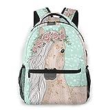 Zainetto per la scuola, motivo: cavalli, ideale per studenti, per ragazze, borsa a tracolla, zainetto da viaggio per bambini