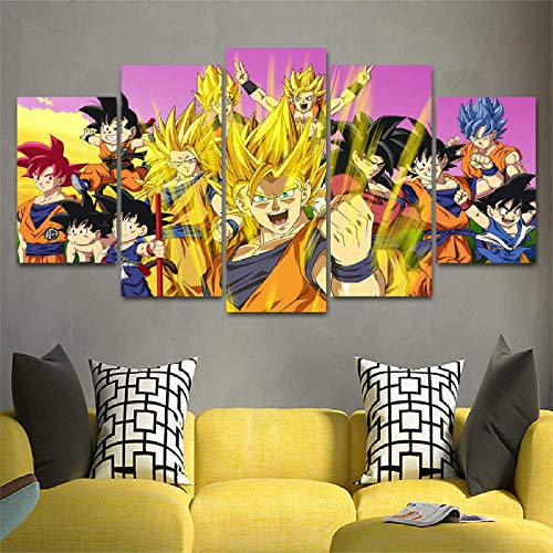 CANPIC HD 5 Panel Leinwand Kunst DragonBalls Cast Malerei wohnkultur Poster Bild Für Wohnzimmer, Gerahmte 40X60 40X80 40X100 cm -
