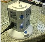 Inter Home - Torre con 8 tomas de corriente (4000W, 16A, adaptador universal)