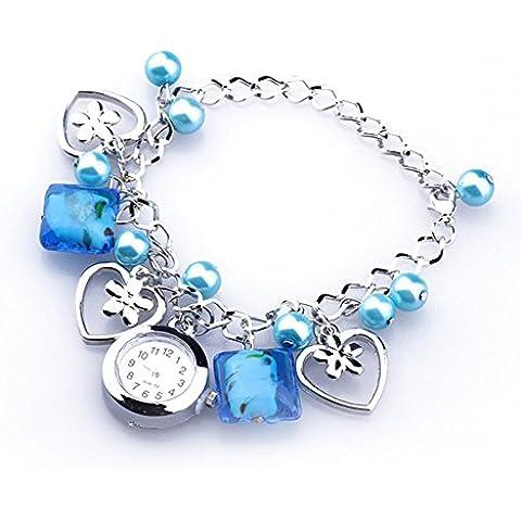 TOOGOO(R)Braccialetto Pendenti orologio da polso da donne blu acrilico perle di quarzo quadrante rotondo