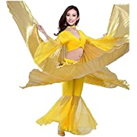 Danza del ventre Danza Indiana Costume Swing Wings Gradient Performance Props With Sticks Gold/Sliver