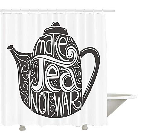 vorhang, Teekanne Silhouette mit friedlichen Schriftzug Vintage 1960er Jahre Hippie-Thema, Stoff Stoff Badezimmer Dekor Set mit Haken, Holzkohle grau und weiß ()