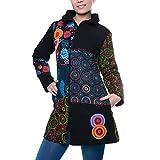 Kunst und Magie Bunter Patchwork Damenmantel mit Stickereien, Größe:34