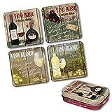 Untersetzer Set + Pillendose inkl. Dragees Pillenbox Tablettenbox Wein Alkohol American Diner Retro Vintage Nostalgie Bar 50s USA America Deko Fun Sprüche GESCHENK SET *Vino Rosso & Bianco*