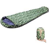 GEERTOP Saco de Dormir Momia Camouflage 1 Persona 3-4 estaciones Con Bolsa de Compresión Ligero y Cómodo para Camping Trekking y Pesca Al Aire Libre