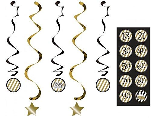 34 Teile Dekorations Set zum 90. Geburtstag oder Jubiläum – Party Deko in Schwarz & Gold - 5