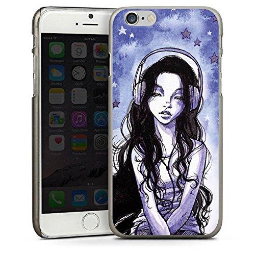 Apple iPhone 4 Housse Étui Silicone Coque Protection Fille Écouteurs Étoiles CasDur anthracite clair