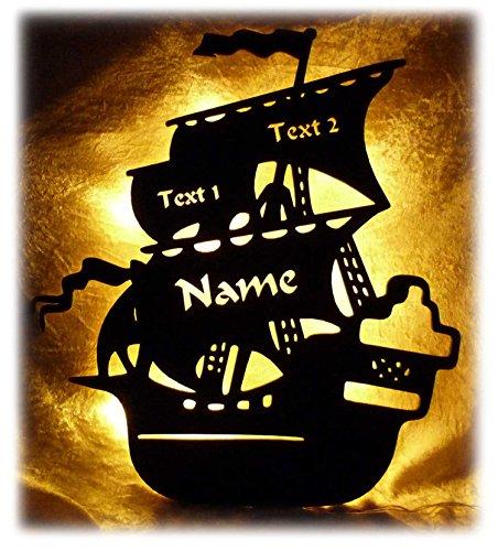 Schlummerlicht24 3d Motiv Led Lampe Piratenschiff Geschenke mit Namen Piratenzimmer Zubehör Kinder Junge Zimmer Zubehör