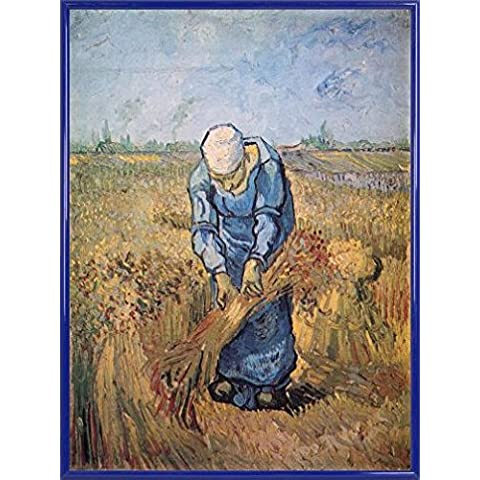 Vincent Van Gogh Stampa D'Arte e Cornice (Plastica) - Woman Binding Sheaves, 1889 (80 x 60cm)