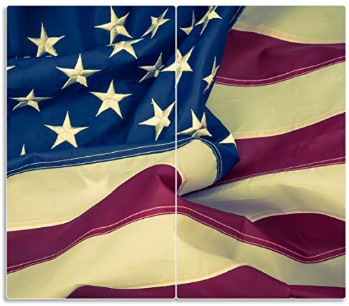 Wallario Herdabdeckplatte/Spritzschutz aus Glas, 2-teilig, 60x52cm, für Ceran- und Induktionsherde, Amerikanische Flagge im Wind - Stück Verfügbar, Separat Erhältlich