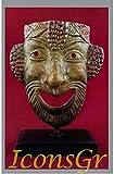 IconsGr Griego Antiguo Bronce Museo Estatua réplica de máscara de Teatro de Comedia (1429)