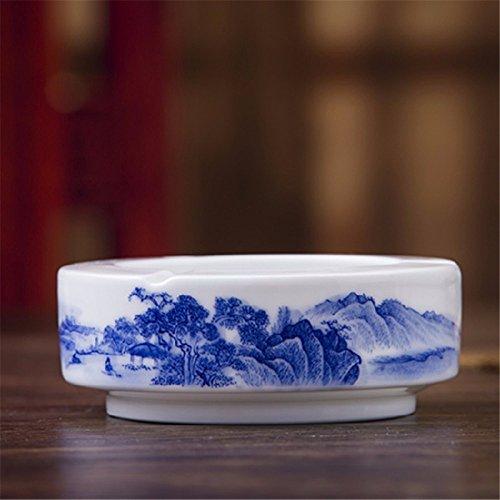 Reine Pinsel von Hand bemalt Unterglasur Blaue und weiße Landschaft Keramik kreative Persönlichkeit Aschenbecher Dekoration -