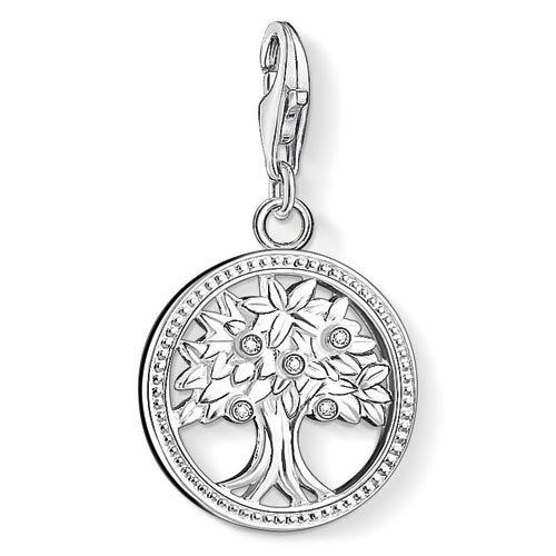 Thomas Sabo Damen-Charm-Anhänger Lebensbaum Charm Club 925 Sterling Silber Zirkonia weiß 1303-051-14