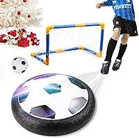amzdeal Air Football Kit Juguete Balón de Fútbol(1 x Air Hover Ball+1 Mini Soccer +1 Goal de Fútbol +1 Aguja de Gas) Aire Fútbol para Actividades Interiores o Exteriores con Luz LED y música