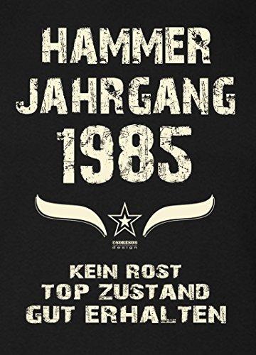 Geschenk zum 31. Geburtstag :-: Geschenkidee Herren Geburtstags-Sprüche-T-Shirt mit Jahreszahl :-: Hammer Jahrgang 1985 :-: Farbe: schwarz Schwarz