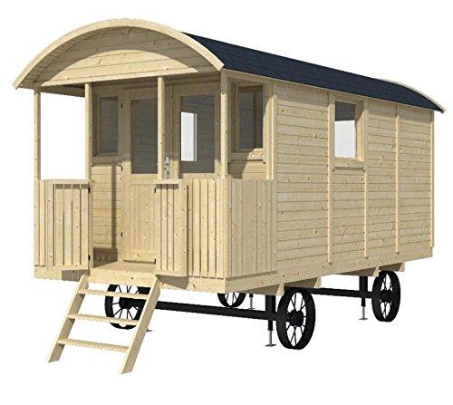*Bauwagen LÖWENZAHN 240 x 500cm Gartenhaus 19mm Holzhaus Anhänger Blockhaus*