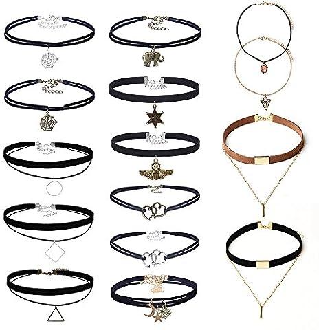 Mingjun 14pièces en velours stretch vintage en velours noir cuir Ensemble de collier ras du cou avec pendentif Collier pour femmes filles ado
