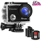 Crosstour Caméra Sport 4K Ultra HD Wi-Fi avec Télécommande Appareil Photo Étanche 30M 170 °Grand-angle avec 2 pouces LCD 2 Batteries Rechargeables 1050mAh et 18 Accessoires