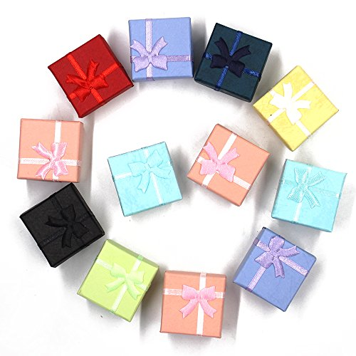 Lenhart Jewelry Armreif Geschenk Ringe Ohrringe Boxen Cutely kleinen Geschenkkarton mit Satin Bänder Geschenkschatulle, 12pcs