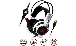 KLIM Puma - Micro Casque Gamer - Son 7.1 - Audio Haute Qualité - Vibrations Intégrées - Parfait pour Gaming PC et PS4 Blanc - [ Nouvelle 2018 Version ]