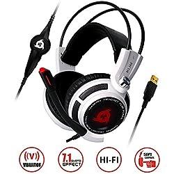 KLIM Puma – Cascos auriculares Gaming con micrófono – sonido envolvente 7.1 – Gran calidad de audio – Vibración integrada – Blanco – ideales para jugar en PC y PS4