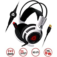 ⭐️KLIM Puma USB Gaming Headset - with Mic - 7.1 surround sound - High Quality Audio Headphones - Integrated Vibrations - Perfect for Gamer Computer PC, PS4 and Switch Game [ New 2019 Version ] - White