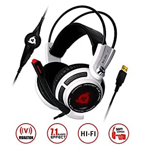 ⭐️KLIM Puma USB Gaming Headset - with Mic - 7.1 surround sound - High Quality Audio Headphones - Integrated Vibrations - Perfect for Gamer Computer PC and PS4 Game [ New 2019 Version ] - White