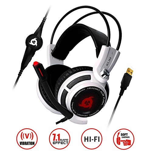 KLIM Puma Cuffie Gaming - Micro Headset da Gaming - Suono Surround 7.1 - Altissima Qualità Audio - Vibrazioni Integrate - Cuffie da Gaming con Microfono - PC PS4 e Switch Games - Bianco - 2019 Version