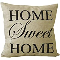 AOLVO Farmhouse Style - Funda de cojín Cuadrada de Lino y arpillera para sofá, sofá