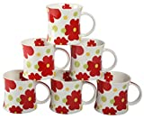 CAROLIN Tea & Coffee Mugs Red (pack of 6...