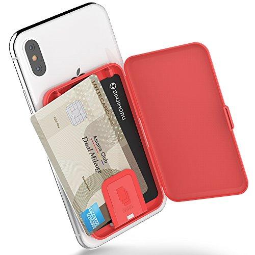 Stick-On-Kartenetui, SINJIMORU-Kartenhalter / Ultra-Slim-Kartenhalter, verwendbar als Brieftasche oder Kartenhalter für den Schreibtisch. Card-Zip, rot. (Damen-scheckheft-halter)