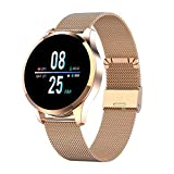RanGuo - Reloj Inteligente para Hombres, Mujeres y niños, Deportes al Aire Libre Impermeable Smart Watch para Sistema Android y iOS, Apoyo recordatorio de Llamada y recordatorio de Mensaje (Dorado)
