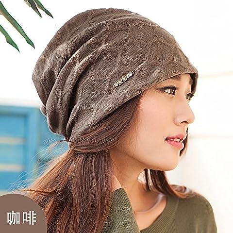 Dngy*Ms. Autunno Baotou piastra cappuccio femmina di autunno e inverno caps sottile cappuccio di pelo cappuccio di testa Knit Hat , Marrone