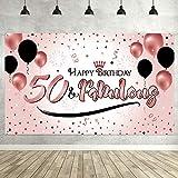 50. Geburtstag Party Dekoration, Extra Große Stoff Schild Poster zum 50. Jahrestag Foto Stand Hintergrund Banner, 50. Geburtstag Party Lieferunge (Rose Gold)