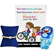 Generic Pearls Gems and Blue Doremon LED Light Rakhi and Greeting Card for Boys
