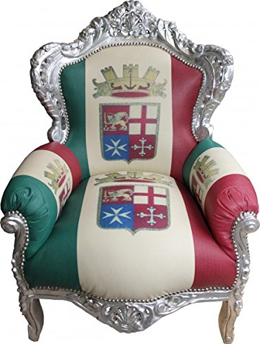 Casa Padrino Barock Sessel King Italien/Silber - Antik Stil Möbel - Unikat