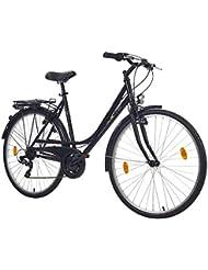 Teutoburg Augustdorf Citybike Fahrrad 28 Zoll Damen (Swingrahmen, 7 Gang Shimano Kettenschaltung, V Bremse, Sportgabel) schwarz