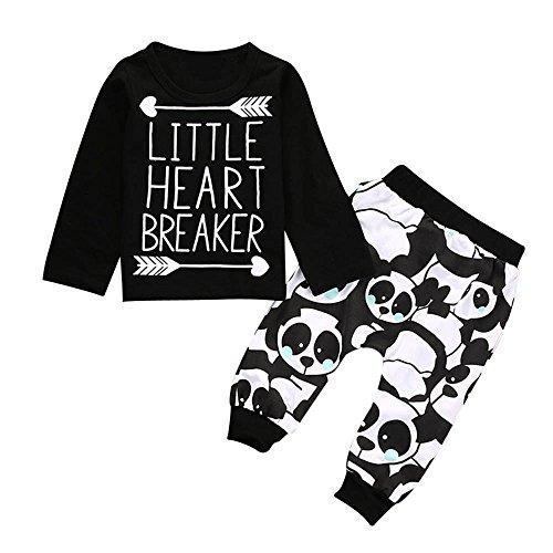 Baby Kapuzenpulli Honestyi Kids Infant Baby Boy Langarm Brief Bluse Tops + Hosen Outfits Kleidung Set (Schwarz,100)