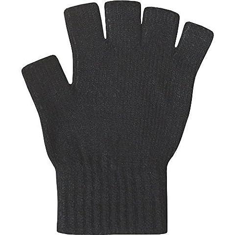 Damen super weiche Warm Feinstrick Thermische Fingerlose Handschuhe Winter-BLACK
