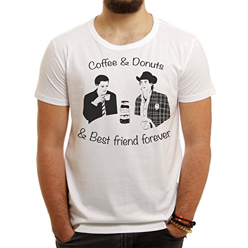 Twin Peaks TV Show Series Dale Cooper Drinking Coffee Donuts Best Friends Forever Quote XL Uomini T-Shirt