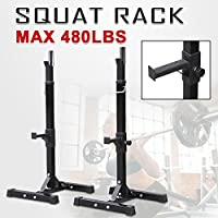 Monumart Adjustable Squat Rack Standard Solid Steel Stands Power Weight Bench Support for Curl Barbell Olympic Barbell Free Press Bench Black