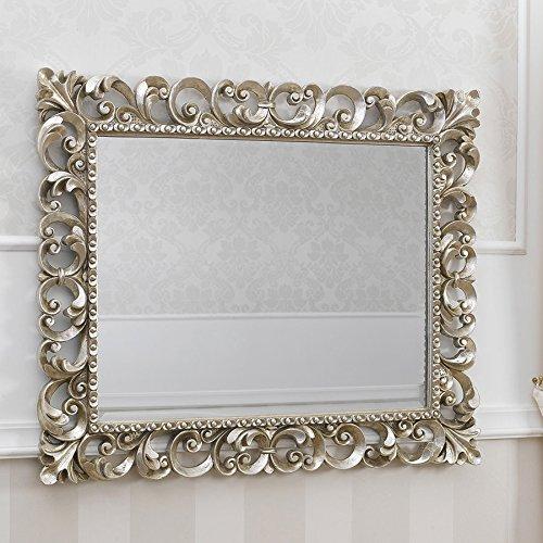 Specchiera stile Barocco cornice traforata foglia argento mecca ...