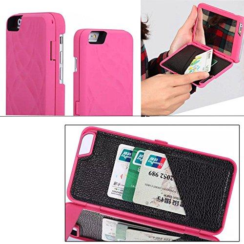 Aeontop 4 en 1 Specchio trucco caso Custodia Case Cover per iphone 6 5.5 con Hidden Portafoglio Dual Layer Slot carta, Pellicola di Protezione e dello stilo Incluse, Nero Viola