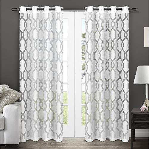 Exclusive Home Vorhänge Rio Sheer Fenster Vorhang Panel Paar, Winter-Weiß, 96