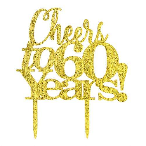 innoru Cheers bis 60Jahre gold Tortenaufsatz 60. Geburtstag oder Jahrestag Memorial Day Party Dekoration Milestone