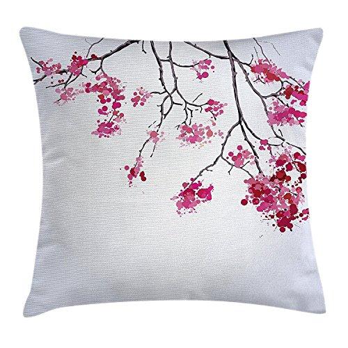 DCOCY Japanische Kirschblüte, Überwurf, Kissenbezug, Sakura Baum Blumen Ast Spring Season Thema Bild, dekorative quadratisch Accent Kissen Fall, 45,7x 45,7cm, Pink Schwarz und Dimgray