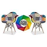 Bricok Set da 2 Sedie DAW Poltroncina Cucina Soggiorno Camera Ufficio con Gambe in Legno di Faggio - Patchwork
