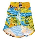 SODIAL(R) Hawaii Strand Lager Hund Sommer T-Shirt Kleid Gelb Blau Groesse M