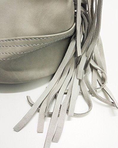 F916–Piccolo Borsa a mano, in similpelle morbida con bordi e pon pon frange–moda donna Grigio